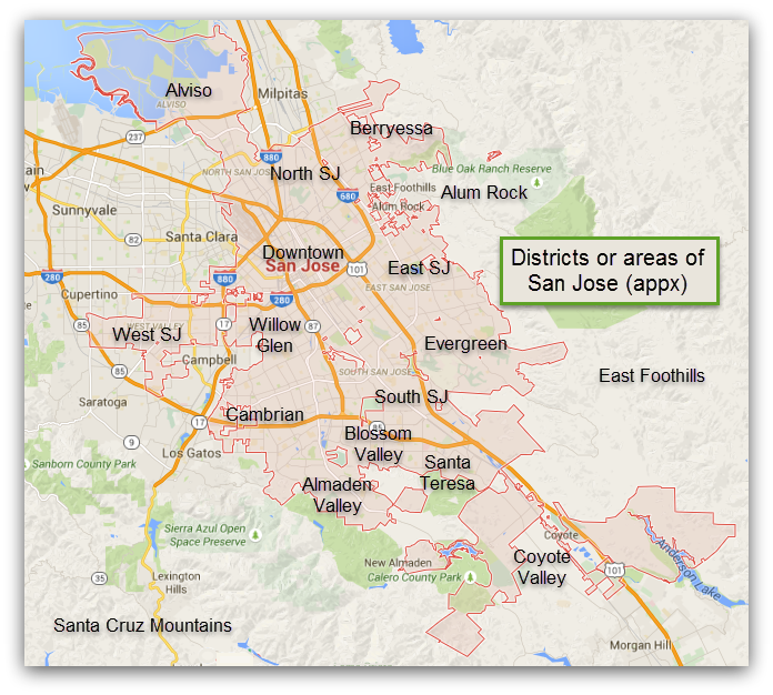 San Jose Districts or Areas map