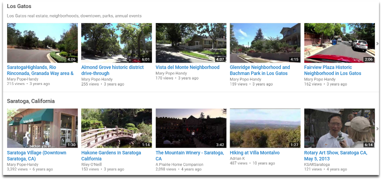Los Gatos neighborhood videos - Mary Pope-Handy YouTube Channel